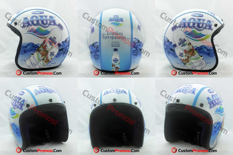 Helm Retro Kulit Aqua