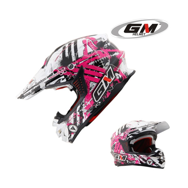 GM Motocross Neutron white pink