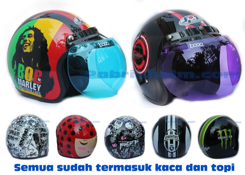 Helm Retro Bogo Kaca Stiker