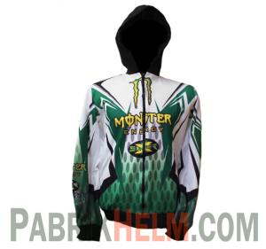 Jaket Motor Monster Energy Putih Hijau
