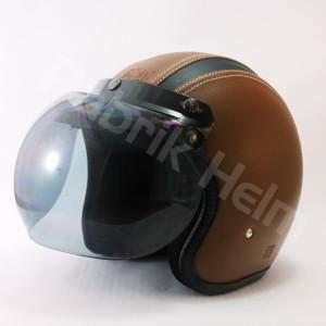 Helm JPN Retro Kulit Full Kaca Bogo