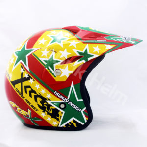 Helm JPN Cross PC18 Motif Star Merah